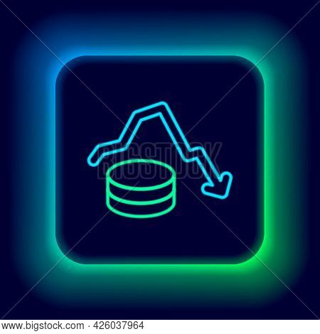 Glowing Neon Line Dollar Rate Decrease Icon Isolated On Black Background. Cost Reduction. Money Symb