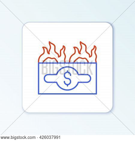 Line Burning Dollar Bill Icon Isolated On White Background. Dollar Bill On Fire. Burning Of Savings.