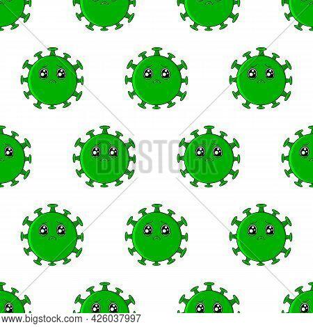 Coronavirus Pattern. Cartoon Cute Green Sad Virus With Big Eyes.