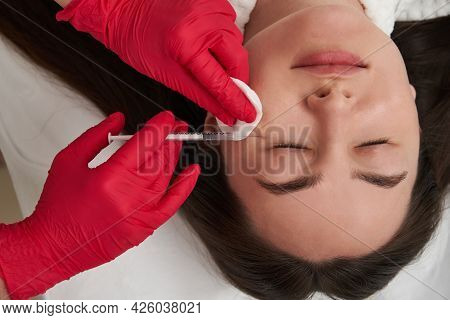 Beauty Injections Into Beautiful Female Face. Smoothing Of Mimic Wrinkles Using Biorevitalization. C