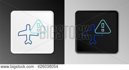 Line Warning Aircraft Icon Isolated On Grey Background. Faulty Plane. Flying Prohibition Zone. Plane