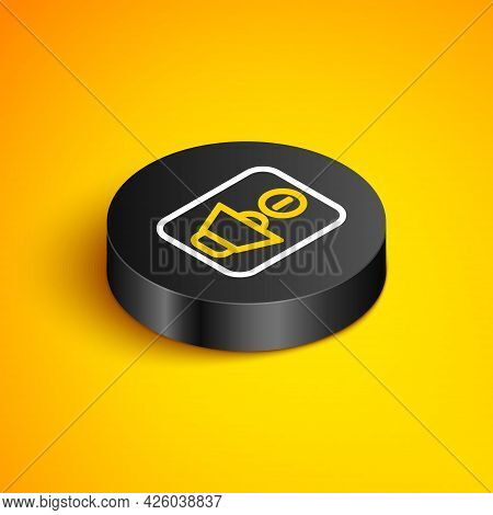 Isometric Line Speaker Mute Icon Isolated On Yellow Background. No Sound Icon. Volume Off Symbol. Bl