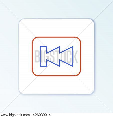 Line Rewind Button Icon Isolated On White Background. Colorful Outline Concept. Vector