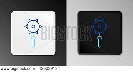Line Medieval Chained Mace Ball Icon Isolated On Grey Background. Medieval Weapon. Colorful Outline