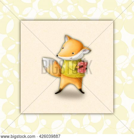 Birthday Watercolor Card With Funny Fox With Giftbox, Holiday Card Template
