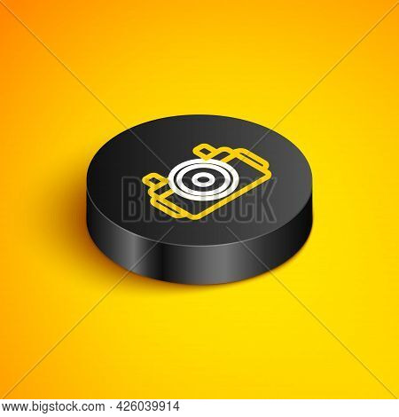 Isometric Line Photo Camera For Diver Icon Isolated On Yellow Background. Foto Camera Icon. Diving U