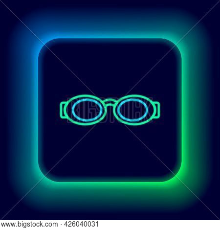 Glowing Neon Line Glasses For Swimming Icon Isolated On Black Background. Swimming Goggles. Diving U