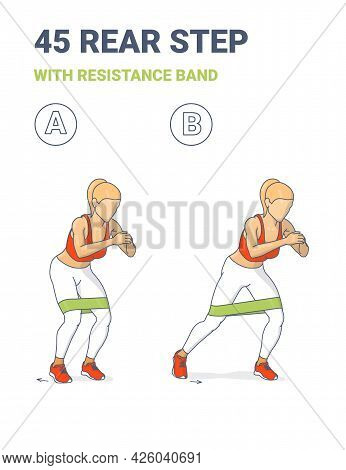 Woman Doing 45 Rear Step With Resistance Band Home Workout Exercise Guidance Illustration.