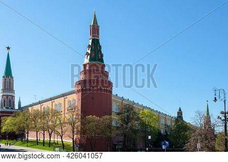 Russian Federation.corner Arsenal Tower On Red Square. The Central Square Of Moscow. The Walls Of Th