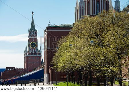 Russian Federation.spasskaya Tower On Red Square. The Central Square Of Moscow. The Walls Of The Kre