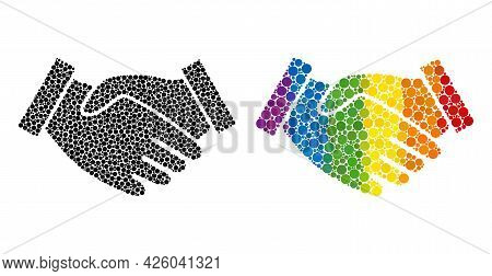 Hand Take Mosaic Icon Of Round Dots In Variable Sizes And Spectrum Colored Color Tints. A Dotted Lgb