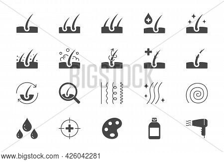 Hair Cosmetic Flat Icons. Vector Illustration Include Icon - Skincare, Frizzy, Repair, Revitalizing,
