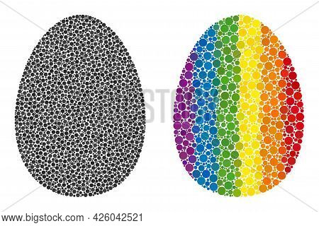Egg Mosaic Icon Of Spheric Blots In Variable Sizes And Spectrum Colored Color Tinges. A Dotted Lgbt-