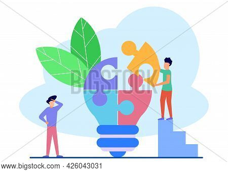 Vector Illustration Of Business Concept Of Business People With Light Bulb Puzzle, Engaged In Teamwo
