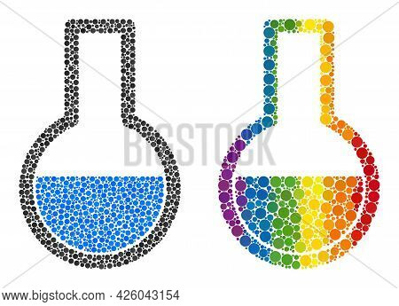Flask Mosaic Icon Of Filled Circles In Various Sizes And Rainbow Colored Color Tones. A Dotted Lgbt-