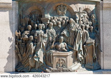 Moscow, Russia - 10 May 2021: Bas-reliefs Depicting Scenes From The Life Of The Holy Equal-to-the-ap