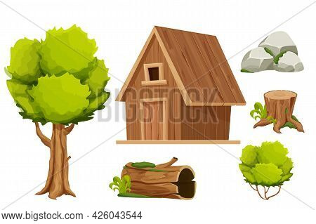 Set Forest Hut, Wooden House Or Cottage, Tree, Old Log With Moss, Stone Pile And Bush In Cartoon Sty