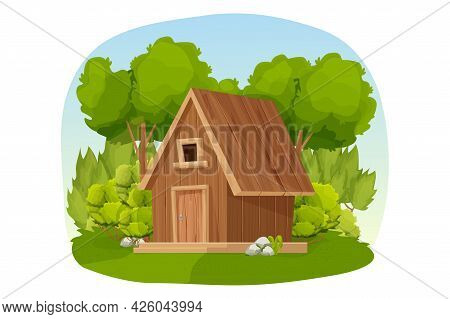 Forest Hut, Wooden House Or Cottage Decorated With Trees, Grass And Bush In Cartoon Style Isolated O