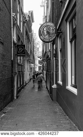 Amsterdam, Netherlands. June 06, 2021. Red Light District. Sex Shop Caligula Facade