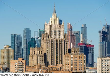 View Of The Building Of The Ministry Of Foreign Affairs Of The Russian Federation And The Moscow Cit