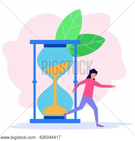 Vector Illustration, Hourglass, Business Woman Managing Time, Time Management Concept, Starting Work