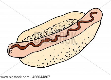 Vector Hot Dog In Natural Colors With Red Ketchup. Hand-drawn Sketch Of A Fast Food Street Hot Dog B