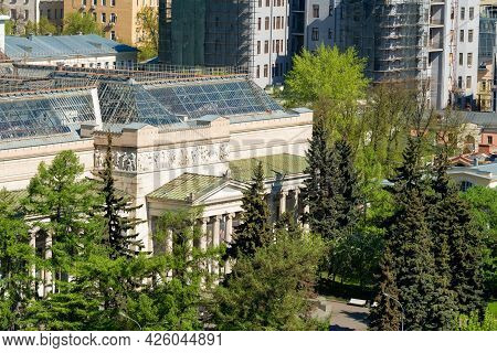 Moscow, Russia - May 10, 2021: Top View Of The Fine Arts Museum Named After Pushkin (pushkin's Museu