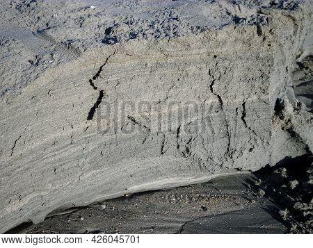 Layers Of Sea Sand. Sandy Coast Of The Caspian Sea.