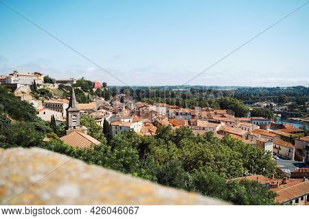 Bezier Cityscape Terracotta Roof Tiles And Orb River