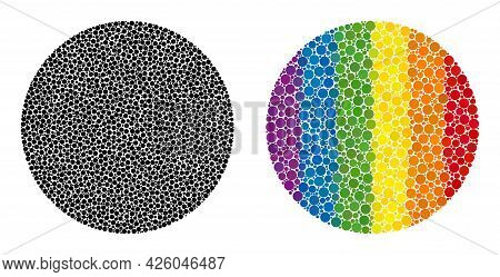 Circle Mosaic Icon Of Filled Circles In Variable Sizes And Spectrum Color Tints. A Dotted Lgbt-color