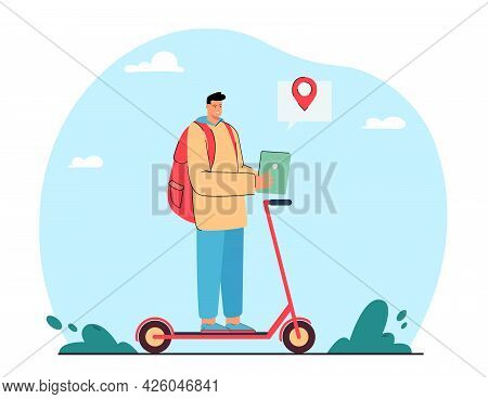 Man Riding Kick Scooter And Checking Location On Online Map. Person Using Application On Tablet Flat
