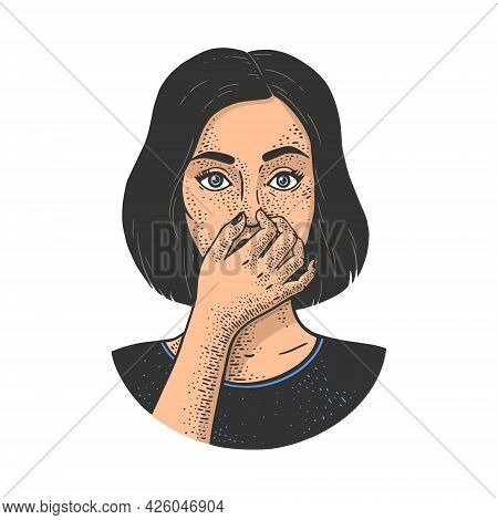 Bad Smell Stench Stink. Girl Holding Nose With Fingers Color Line Art Sketch Engraving Vector Illust