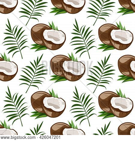 Seamless Pattern With Coconut And Palm Leaves. Ripe Tropical Jungle Fruit With White Juicy Pulp. Exo