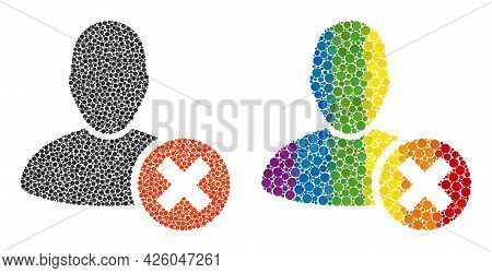 Delete User Composition Icon Of Round Items In Variable Sizes And Spectrum Color Tinges. A Dotted Lg