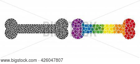 Bone Collage Icon Of Circle Elements In Various Sizes And Spectrum Colored Color Hues. A Dotted Lgbt