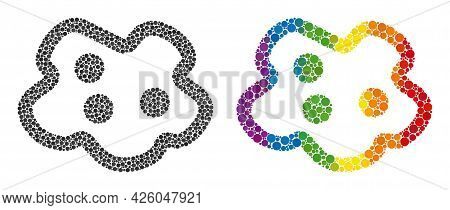 Amoeba Composition Icon Of Round Dots In Different Sizes And Spectrum Colorful Shades. A Dotted Lgbt