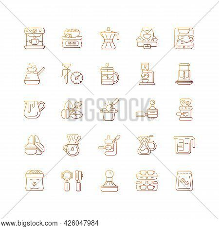 Coffee And Barista Accessories Gradient Linear Vector Icons Set. Drip Machine. French Press. Cafe Ap