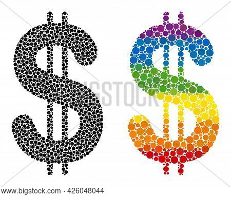 Dollar Collage Icon Of Round Dots In Variable Sizes And Rainbow Colored Color Tones. A Dotted Lgbt-c