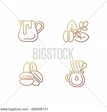 Coffee Preparation Gradient Linear Vector Icons Set. Milk Pitcher For Barista. Raw Beans. Roasted Ar