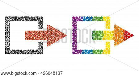 Export Arrow Mosaic Icon Of Circle Elements In Variable Sizes And Spectrum Multicolored Color Hues.