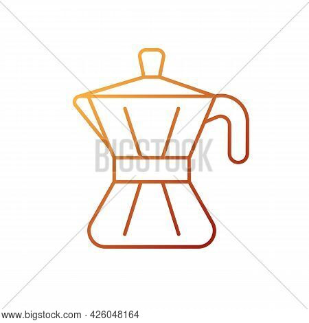 Moka Pot Gradient Linear Vector Icon. Tool For Brewing Espresso At Home. Stove Top Pot. Barista Acce