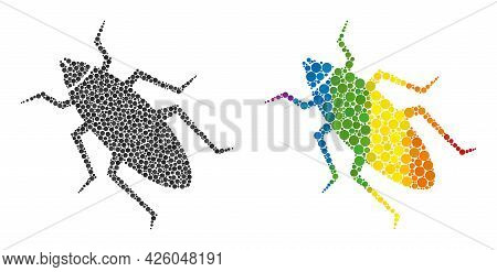 Bug Collage Icon Of Round Dots In Variable Sizes And Spectrum Colored Color Hues. A Dotted Lgbt-colo