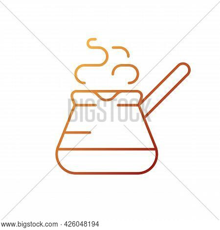 Turkish Coffee Pot Gradient Linear Vector Icon. Cezve For Brewing Fresh Espresso At Home. Barista Ac