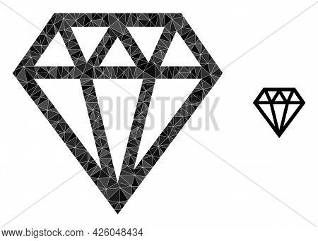 Triangle Brilliant Polygonal Icon Illustration. Brilliant Lowpoly Icon Is Filled With Triangles. Fla