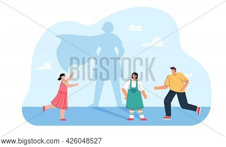 Friends Running Towards Cartoon Girl With Superhero Shadow. Shadow Of Female Character Wearing Cape