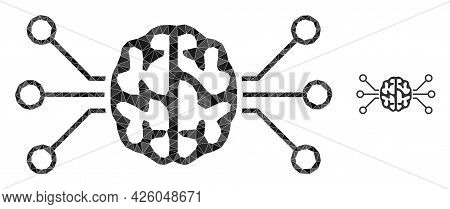 Triangle Brain Circuit Polygonal Icon Illustration. Brain Circuit Lowpoly Icon Is Filled With Triang