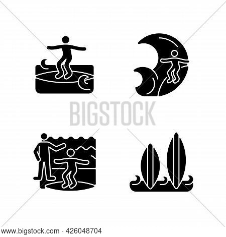 Surfboarding Black Glyph Icons Set On White Space. Crumbly Waves Surfing. Flight Maneuver. Taking Su