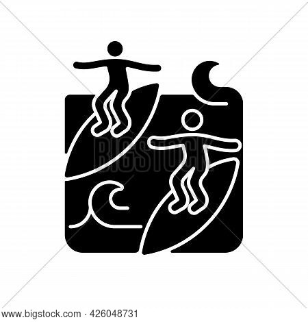 Surfing With Mate Black Glyph Icon. Catching Waves With Surf Coach And Experienced Friend. Joining S