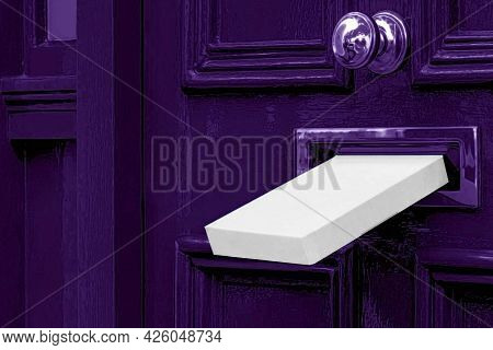 Postal White Box Mailbox Letterbox The Parcel Is Delivered Through The Parcel Door Opening Backgroun