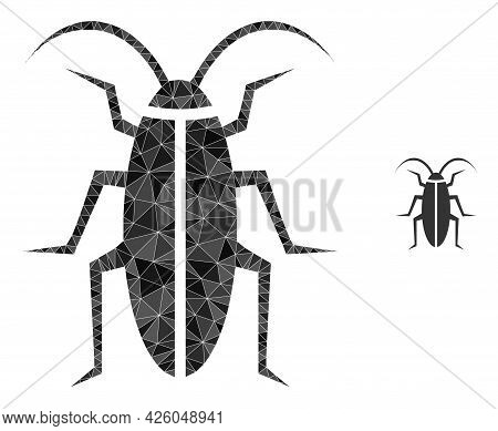 Triangle Cockroach Polygonal Icon Illustration. Cockroach Lowpoly Icon Is Filled With Triangles. Fla